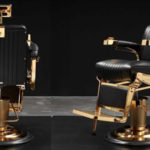 gold plated barber chair black
